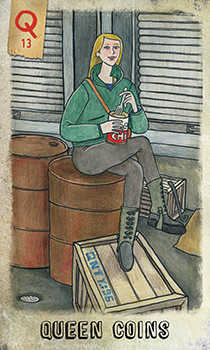 Queen of Discs Tarot Card - Omegaland Tarot Deck