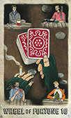 Wheel of Fortune Tarot card in Omegaland Tarot deck