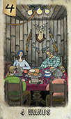 Four of Wands Tarot card in Omegaland Tarot deck