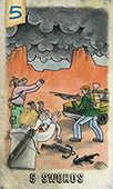 Five of Swords Tarot card in Omegaland Tarot deck