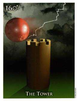 The Falling Tower Tarot Card - One World Tarot Deck