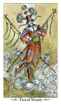 Two of Rods Tarot Card - Paulina Tarot Deck