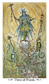 Three of Rods Tarot Card - Paulina Tarot Deck