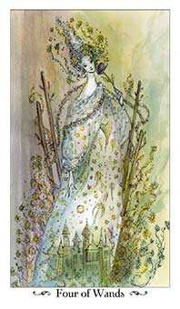 Four of Wands Tarot Card - Paulina Tarot Deck