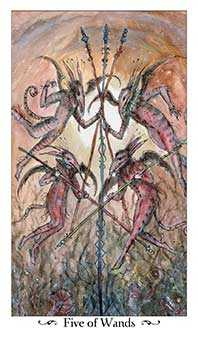 Five of Staves Tarot Card - Paulina Tarot Deck