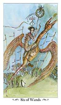 Six of Rods Tarot Card - Paulina Tarot Deck