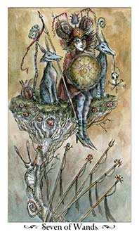 Seven of Rods Tarot Card - Paulina Tarot Deck