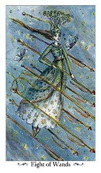 Eight of Rods Tarot Card - Paulina Tarot Deck