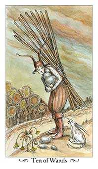 Ten of Staves Tarot Card - Paulina Tarot Deck