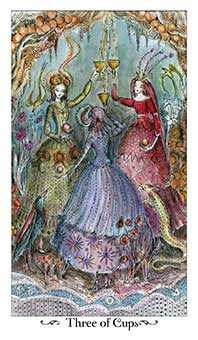 Three of Hearts Tarot Card - Paulina Tarot Deck