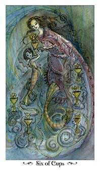 Six of Ghosts Tarot Card - Paulina Tarot Deck