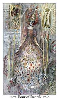Four of Bats Tarot Card - Paulina Tarot Deck