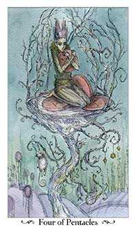 Four of Discs Tarot Card - Paulina Tarot Deck