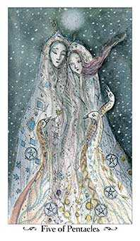 Five of Diamonds Tarot Card - Paulina Tarot Deck