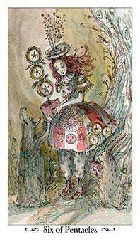Six of Coins Tarot Card - Paulina Tarot Deck