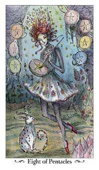 Eight of Coins Tarot Card - Paulina Tarot Deck