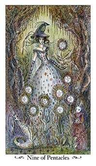 Nine of Coins Tarot Card - Paulina Tarot Deck