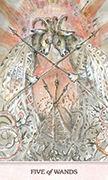 Five of Wands Tarot card in Phantasma deck