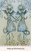 Two of Pentacles Tarot card in Phantasma deck