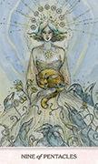 Nine of Pentacles Tarot card in Phantasma deck