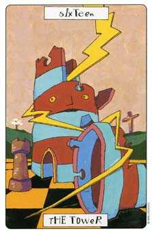 The Falling Tower Tarot Card - Phantasmagoric Tarot Deck