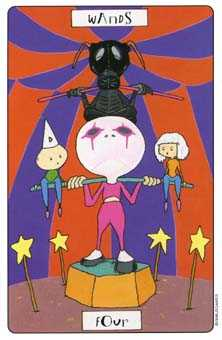 Four of Batons Tarot Card - Phantasmagoric Tarot Deck