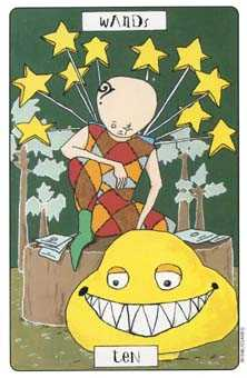 Ten of Batons Tarot Card - Phantasmagoric Tarot Deck