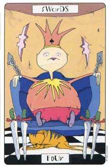Four of Swords Tarot Card - Phantasmagoric Tarot Deck