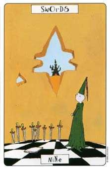 Nine of Arrows Tarot Card - Phantasmagoric Tarot Deck