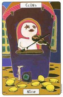 Nine of Coins Tarot Card - Phantasmagoric Tarot Deck
