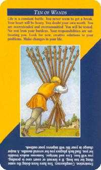 Ten of Staves Tarot Card - Quick and Easy Tarot Deck