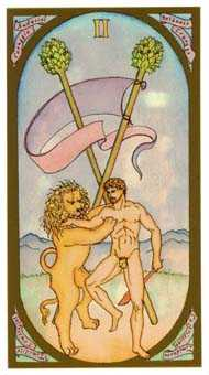 Two of Staves Tarot Card - Renaissance Tarot Deck