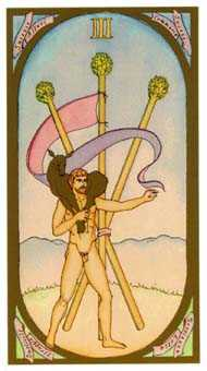 Three of Rods Tarot Card - Renaissance Tarot Deck