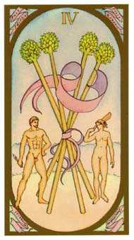 Four of Staves Tarot Card - Renaissance Tarot Deck