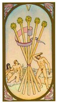 Five of Batons Tarot Card - Renaissance Tarot Deck