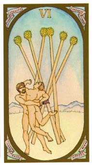 Six of Pipes Tarot Card - Renaissance Tarot Deck
