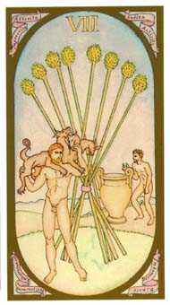 Eight of Staves Tarot Card - Renaissance Tarot Deck