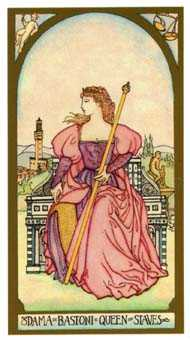 Queen of Staves Tarot Card - Renaissance Tarot Deck