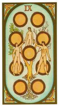 Nine of Coins Tarot Card - Renaissance Tarot Deck