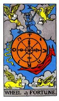 The Wheel of Fortune Tarot Card - Rider Waite Tarot Deck