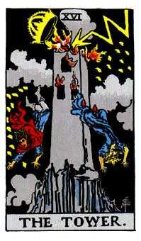 The Blasted Tower Tarot Card - Rider Waite Tarot Deck