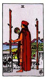 Two of Staves Tarot Card - Rider Waite Tarot Deck