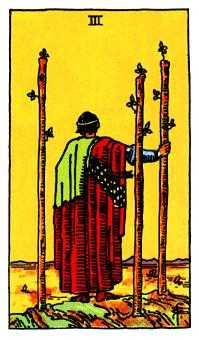 Three of Batons Tarot Card - Rider Waite Tarot Deck