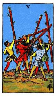 Five of Batons Tarot Card - Rider Waite Tarot Deck