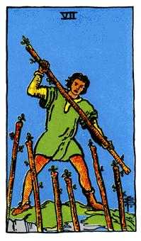Seven of Rods Tarot Card - Rider Waite Tarot Deck