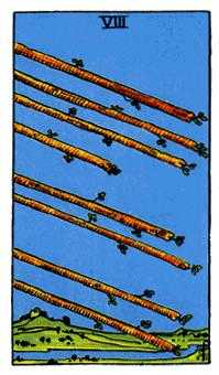 Eight of Rods Tarot Card - Rider Waite Tarot Deck