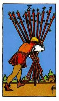 Ten of Batons Tarot Card - Rider Waite Tarot Deck