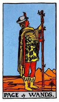 Valet of Batons Tarot Card - Rider Waite Tarot Deck