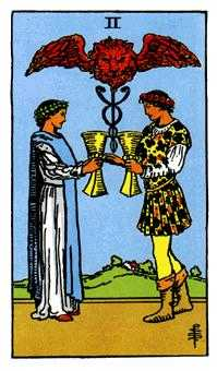 Two of Cups Tarot Card - Rider Waite Tarot Deck