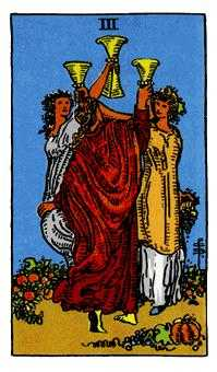 Three of Hearts Tarot Card - Rider Waite Tarot Deck